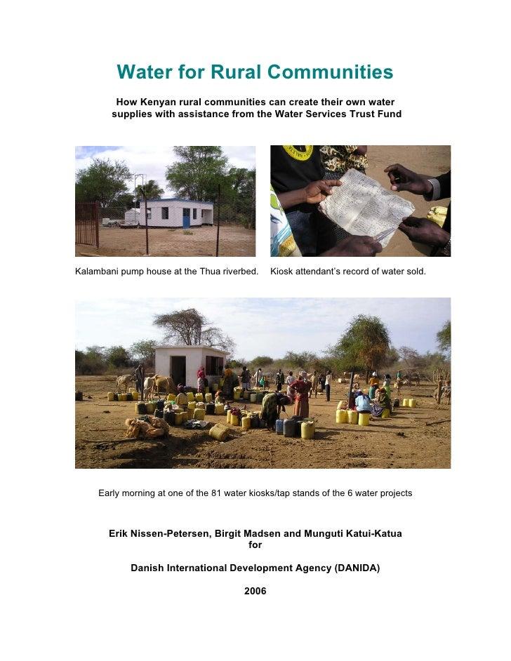 Kenya;  Water for Rural Communities:  How Kenyan Rural Communities Can Create Their Own Water Supplies