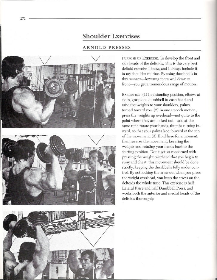 272           Shoulder    Exercises       ARNOLD     PRESSES                       PURPOSEOF EXERCISE: o develop the front...