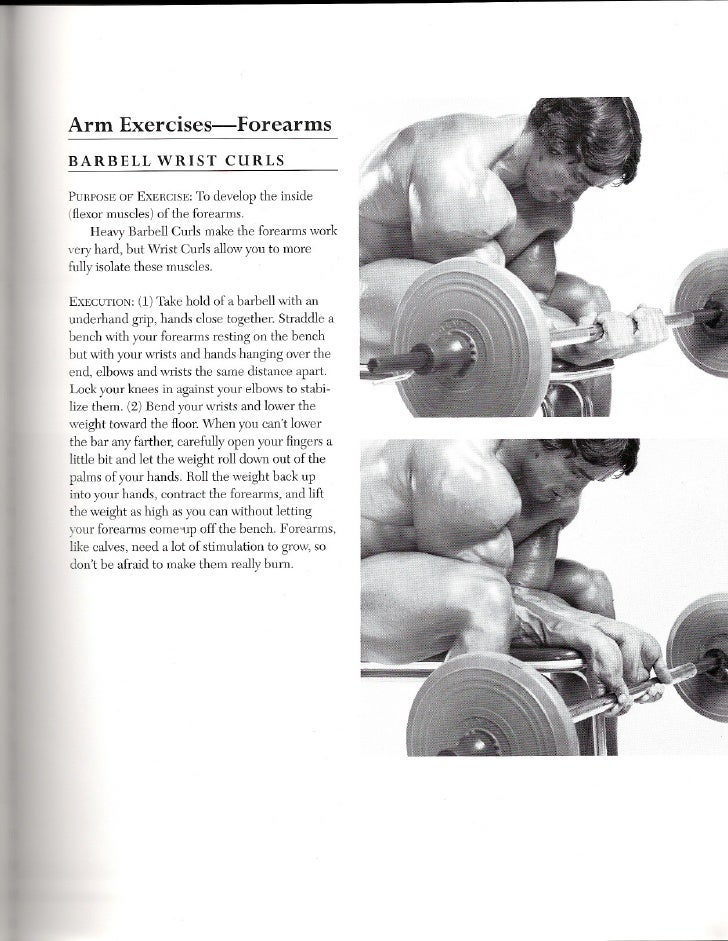 Arm      Exercises-Forearms BARBELL         WRIST        CURLS  PURPOSEOF EXERCISE: o develop the inside                  ...