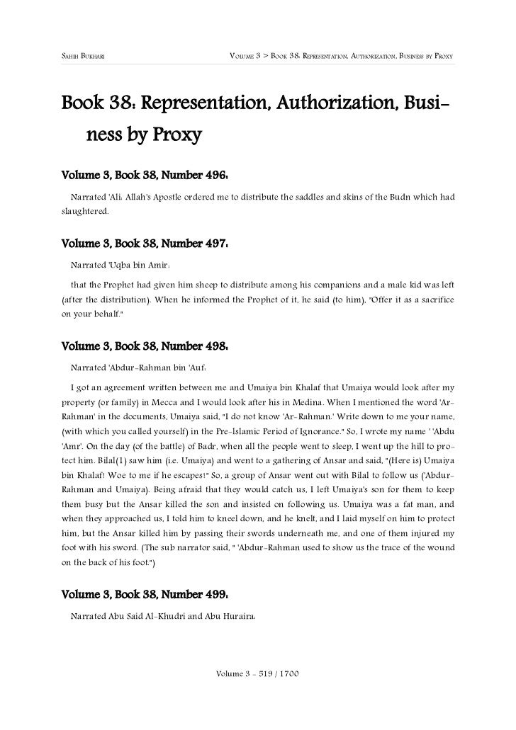 SAHIH BUKHARI                               VOLUME 3 > BOOK 38: REPRESENTATION, AUTHORIZATION, BUSINESS BY PROXYBook 38: R...