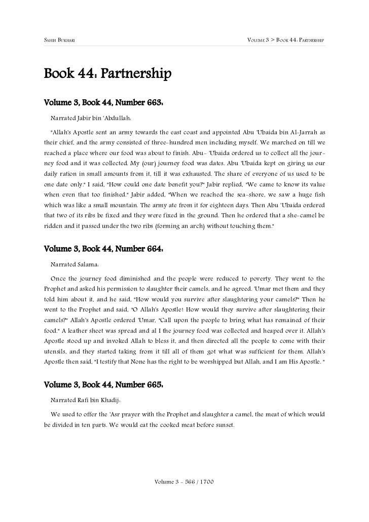 SAHIH BUKHARI                                                              VOLUME 3 > BOOK 44: PARTNERSHIPBook 44: Partner...