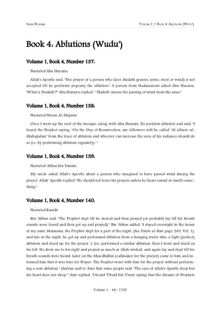 SAHIH BUKHARI                                                        VOLUME 1 > BOOK 4: ABLUTIONS (WUDU)Book 4: Ablutions ...
