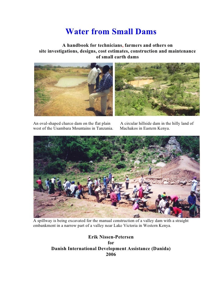 India;  Water from Small Earth Dams:  A Handbook For Technicians, Farmers and Others
