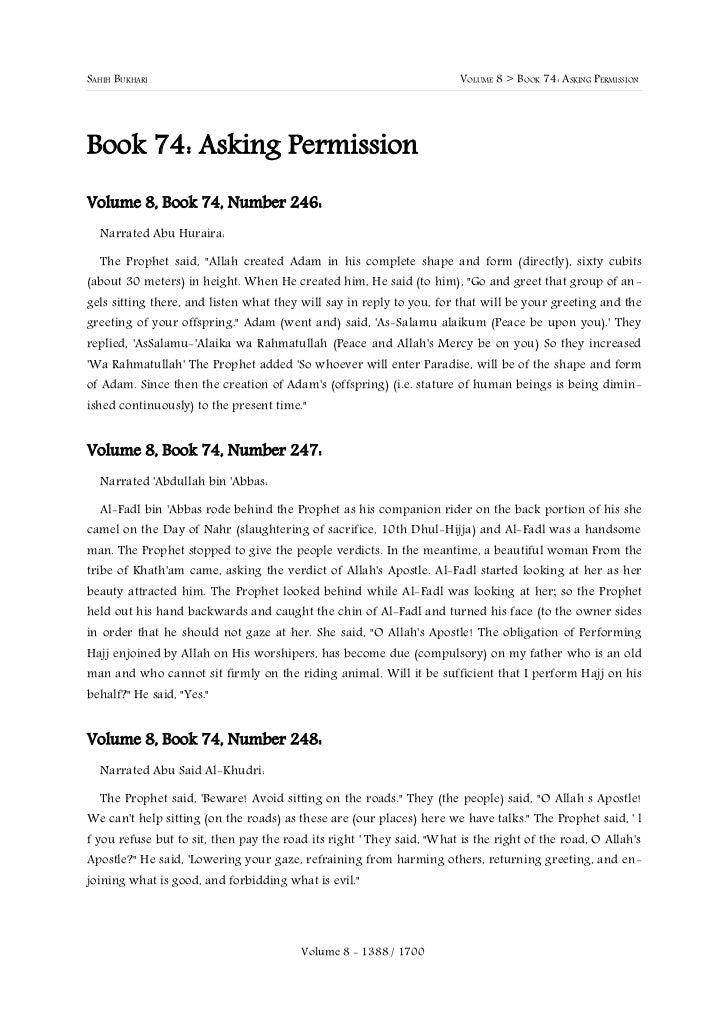 SAHIH BUKHARI                                                          VOLUME 8 > BOOK 74: ASKING PERMISSIONBook 74: Askin...