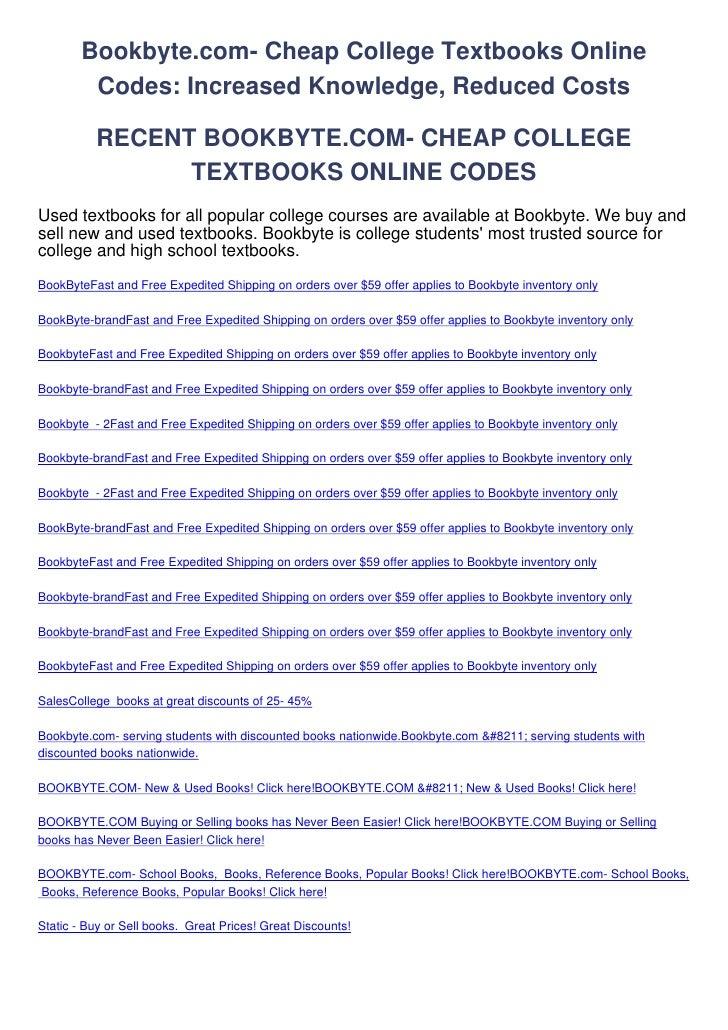 Bookbyte.com--Cheap-College-Textbooks-Online-Codes