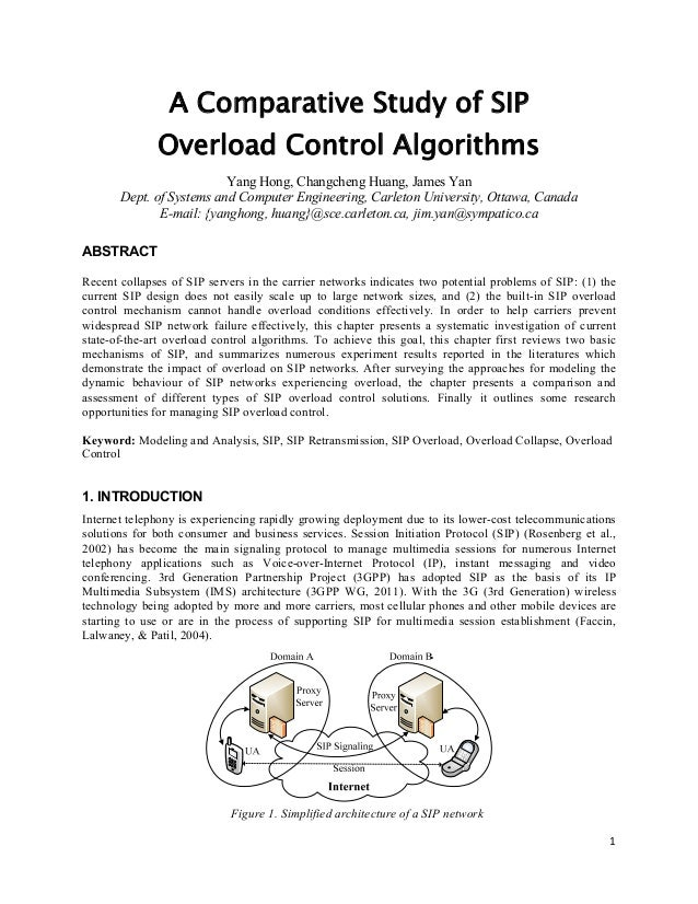 A Comparative Study of SIP Overload Control Algorithms Yang Hong, Changcheng Huang, James Yan Dept. of Systems and Compute...