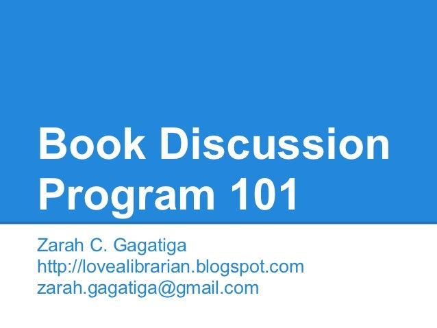 Book discussion 101 rev