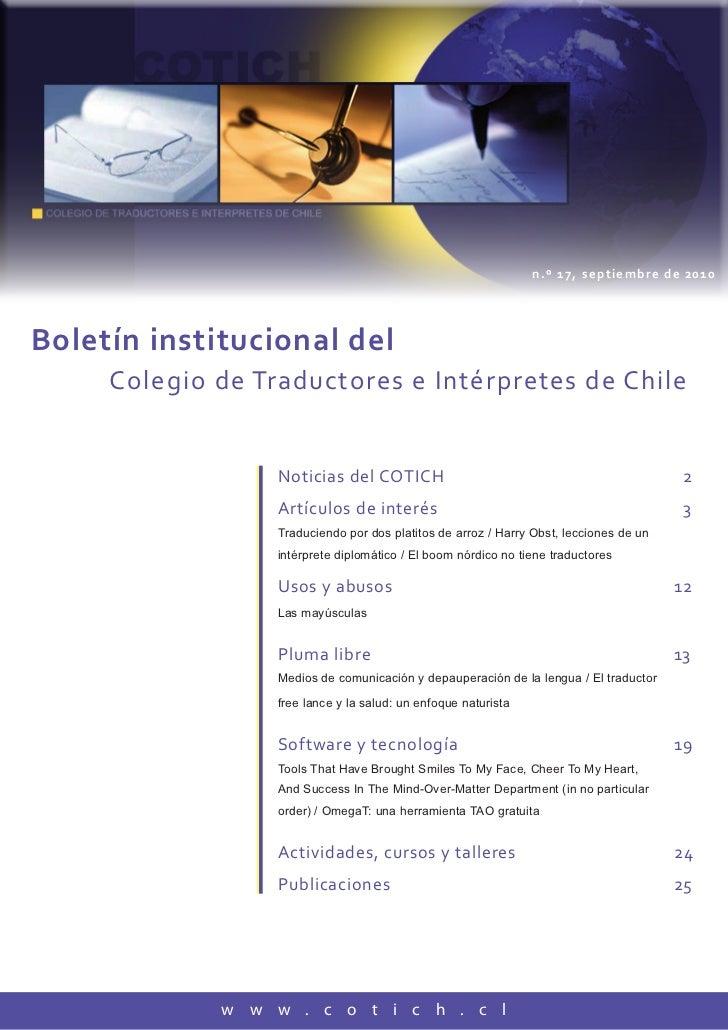 n.º 17, septiembre de 2010Boletín institucional del     Colegio de Traductores e Intérpretes de Chile                  Not...