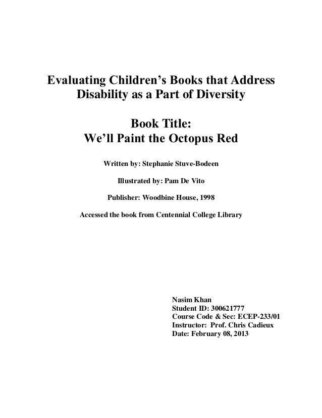 Evaluating Children's Books that Address     Disability as a Part of Diversity              Book Title:      We'll Paint t...