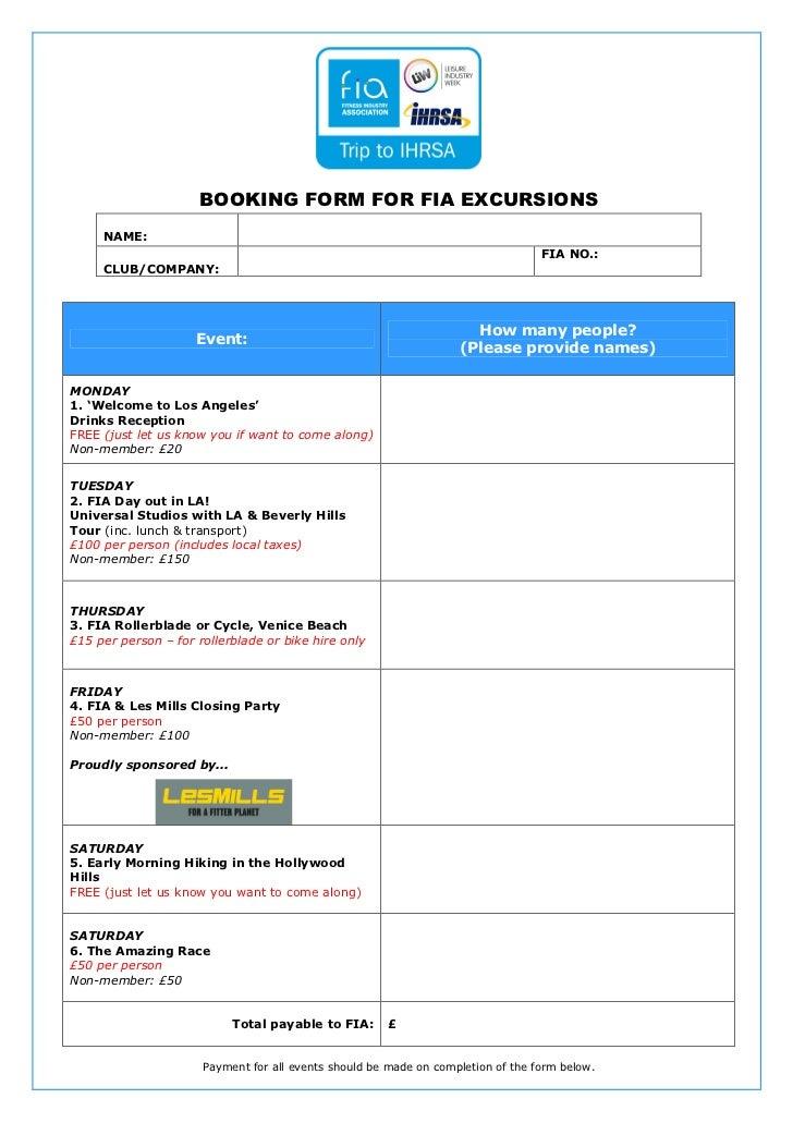 Booking form fia ihrsa events