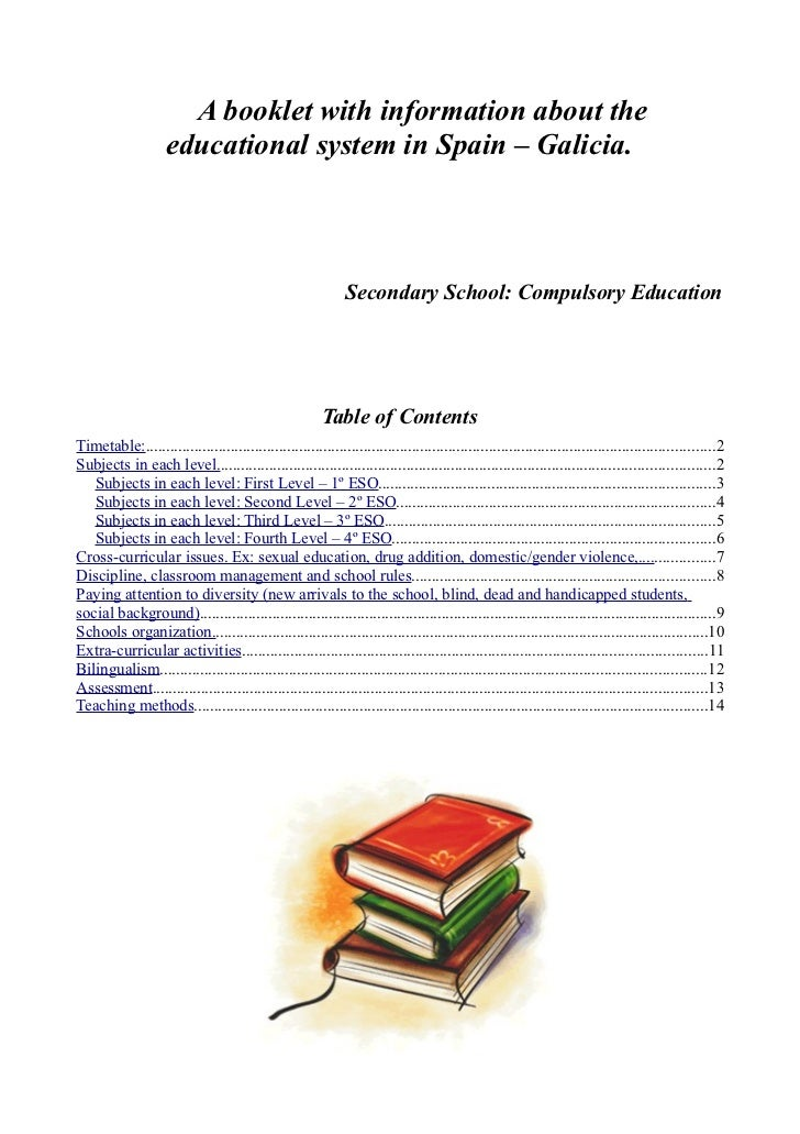 Booklet education system of Spain