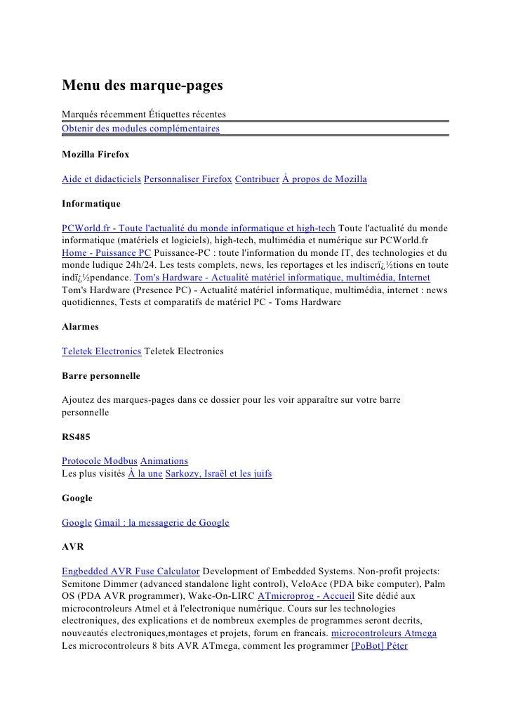 Menu des marque-pages Marqués récemment Étiquettes récentes Obtenir des modules complémentaires  Mozilla Firefox  Aide et ...