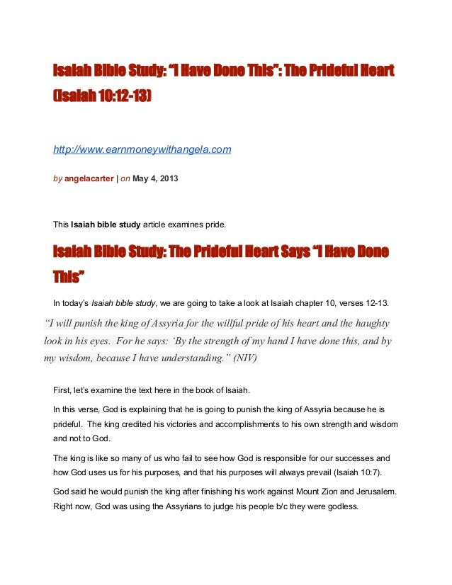 Book of Isaiah Bible Study: The Prideful Heart