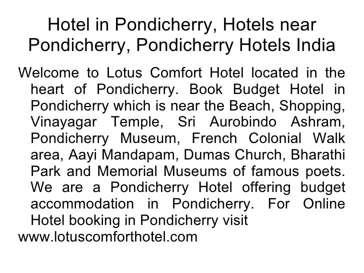 Hotel in Pondicherry, Hotels near Pondicherry, Pondicherry Hotels India Welcome to Lotus Comfort Hotel located in the hear...