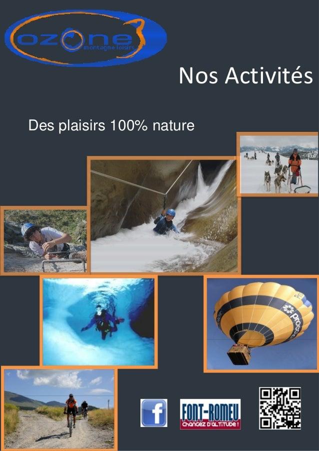 Nos Activités Des plaisirs 100% nature