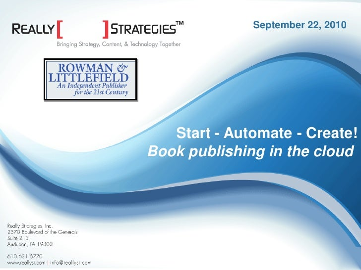 Start > Automate > Create | Book Publishing in the Cloud