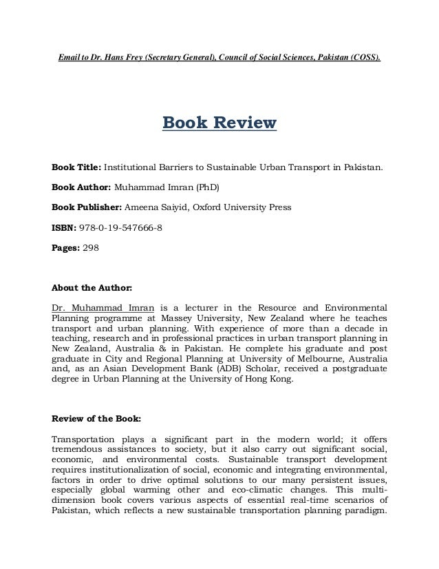 Email to Dr. Hans Frey (Secretary General), Council of Social Sciences, Pakistan (COSS).  Book Review Book Title: Institut...