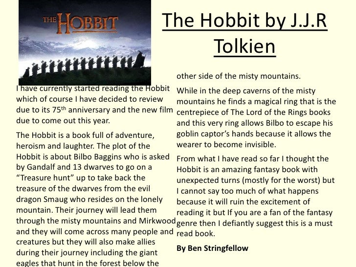 book essay the hobbit Open document below is an essay on the hobbit book project from anti essays, your source for research papers, essays, and term paper examples.