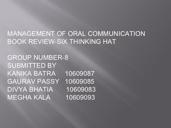 Book review six thinking hat