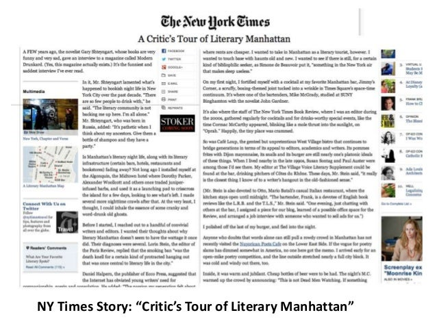 """NY Times Story: """"Critic's Tour of Literary Manhattan"""""""