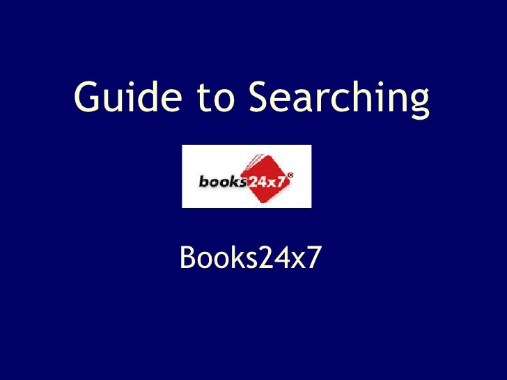 Guide to Searching Books24x7