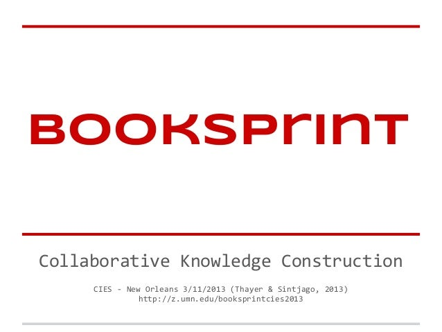Booksprint Presentation CIES 2013
