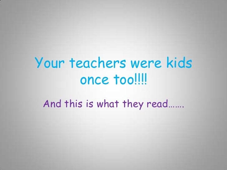 Books Teachers Loved as Kids