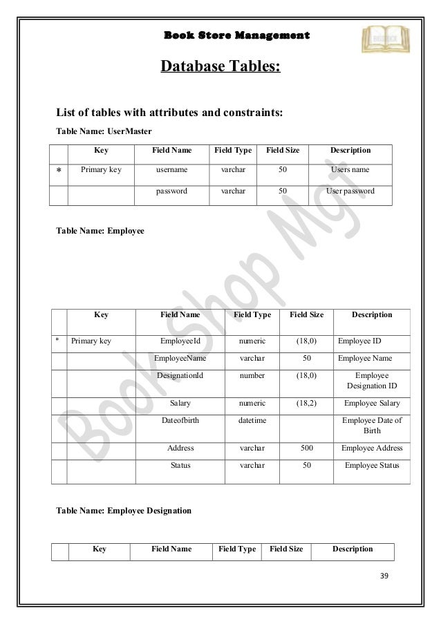 Bookstore sections list