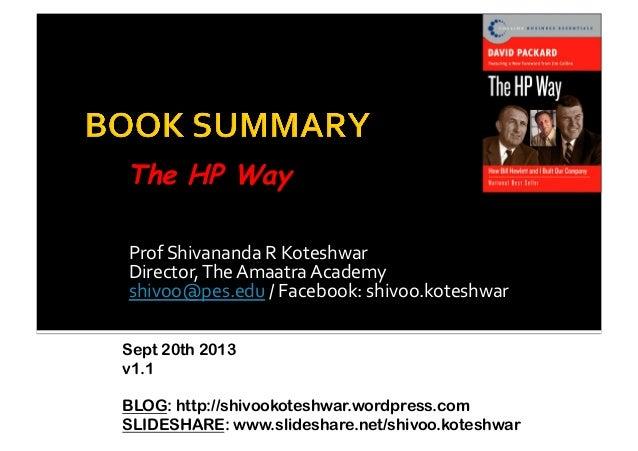 Book Summary -The HP Way