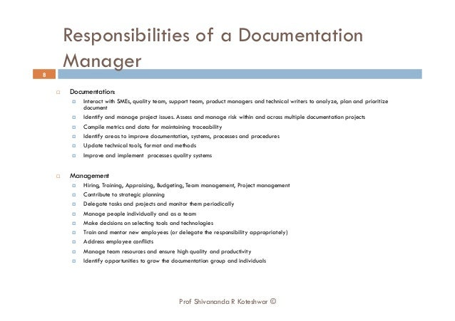 Technical writer responsibilities