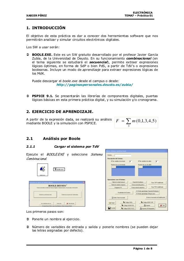ELECTRÒNICA XABIER PÉREZ TEMA7 – Pràctica 01 Página 1 de 8 1. INTRODUCCIÓN El objetivo de esta práctica es dar a conocer d...