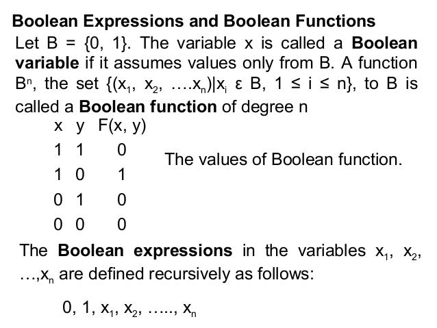 Boolean Expressions and Boolean Functions Let B = {0, 1}. The variable x is called a Boolean variable if it assumes values...