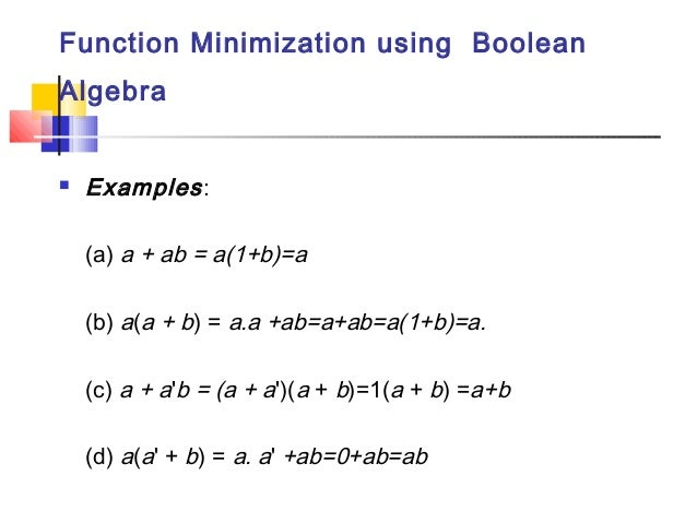 function minimi... C- Boolean Function Examples