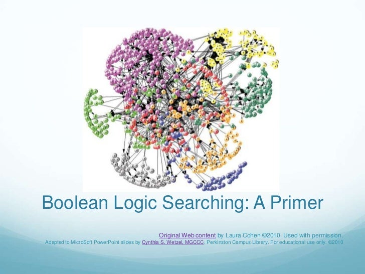 Boolean Logic Searching: A Primer<br />Original Web content by Laura Cohen ©2010. Used with permission.<br />Adapted to Mi...