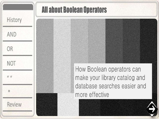 Boolean operators new
