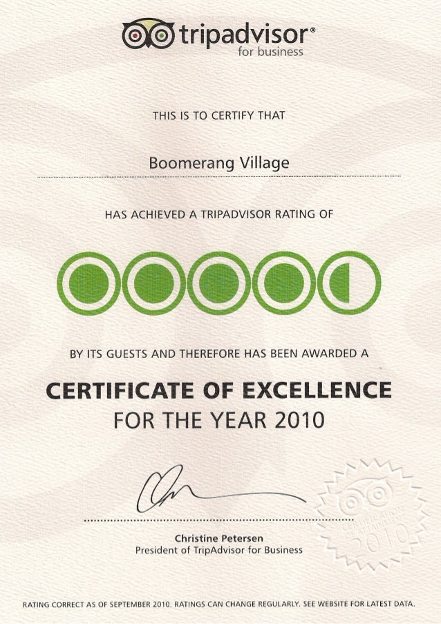 Boomerang Village - Tripadvisor - Certificate Of Excellence for the year 2010