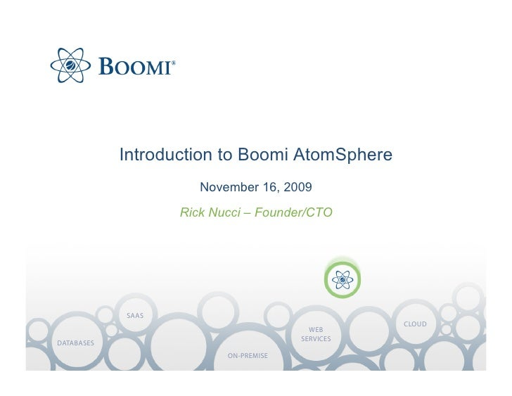 Introduction to Boomi AtomSphere                       November 16, 2009                    Rick Nucci – Founder/CTO      ...