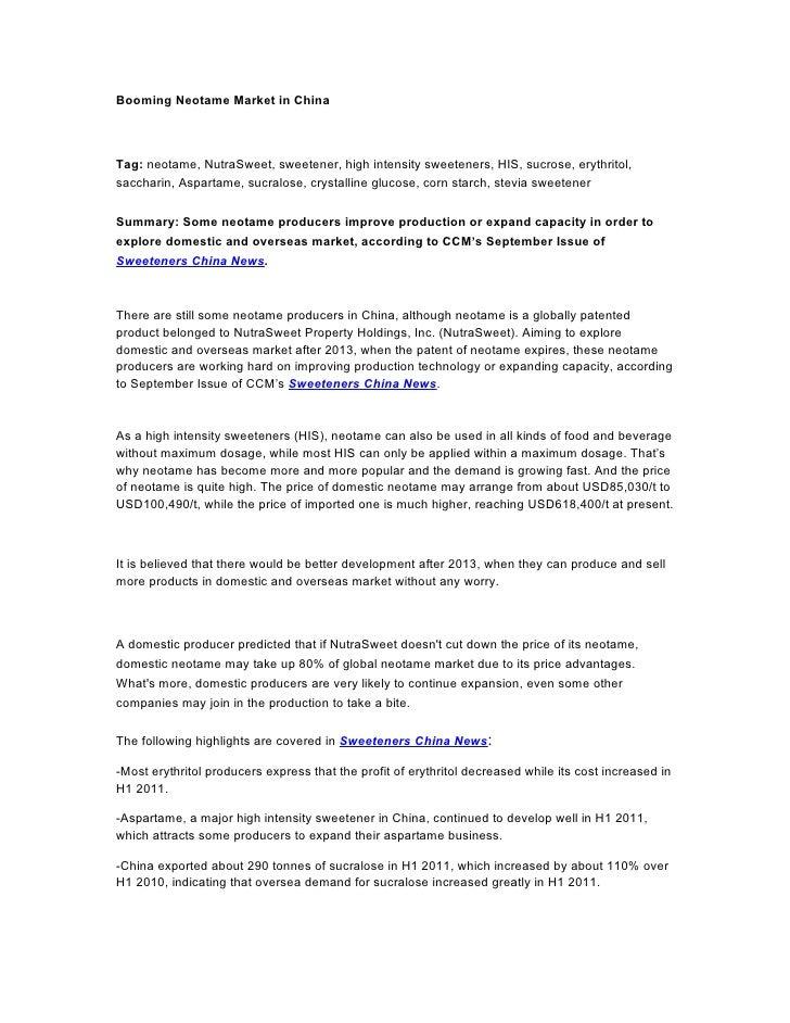 Booming Neotame Market in ChinaTag: neotame, NutraSweet, sweetener, high intensity sweeteners, HIS, sucrose, erythritol,sa...