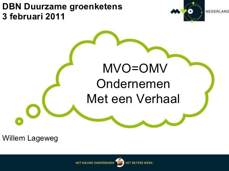 DBN Duurzame groenketens 3 februari 2011 MVO=OMV Ondernemen  Met een Verhaal  Willem Lageweg