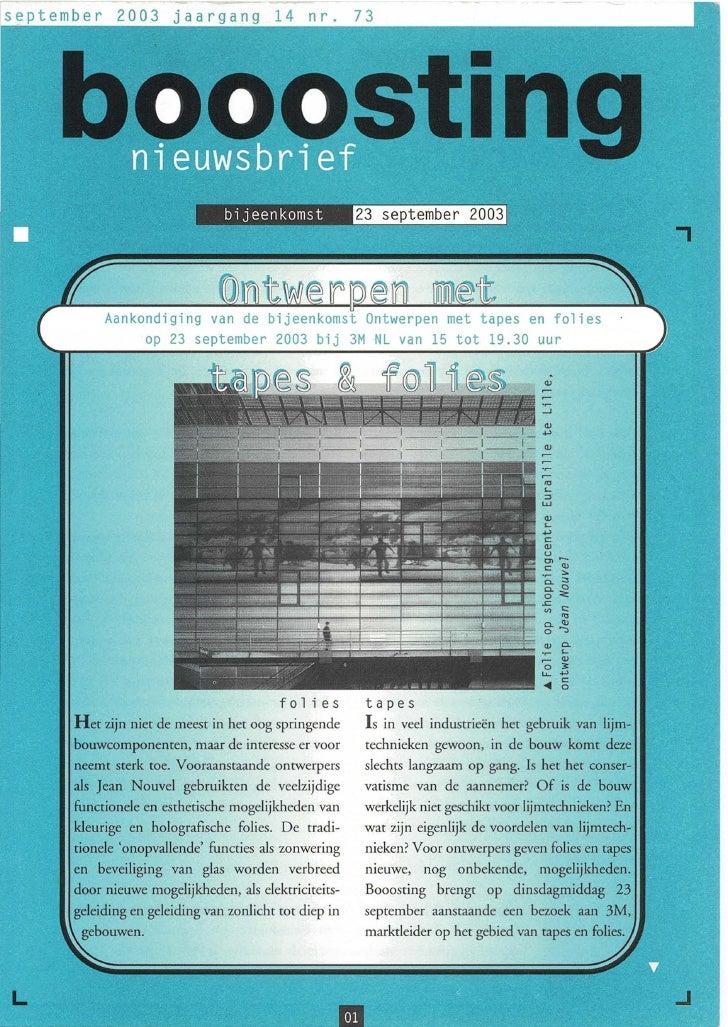 Booosting nieuwsbrief 73 (Sep 2003)