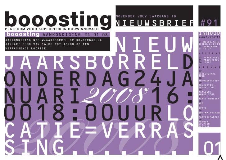 booosting NIEUWSBRIEF #91 booosting        AANKONDIGING 24 01 08                                                 NOVEMBER ...