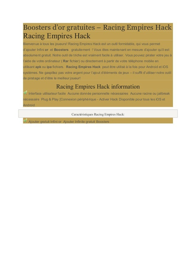 Boosters d'or gratuites – Racing Empires Hack  Racing Empires Hack  Bienvenue à tous les joueurs! Racing Empires Hack est ...