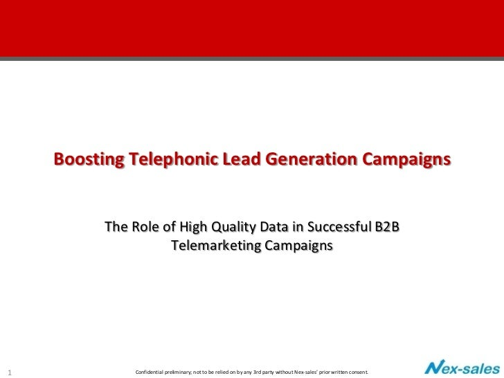 Boosting Telephonic Lead Generation Campaigns         The Role of High Quality Data in Successful B2B                   Te...
