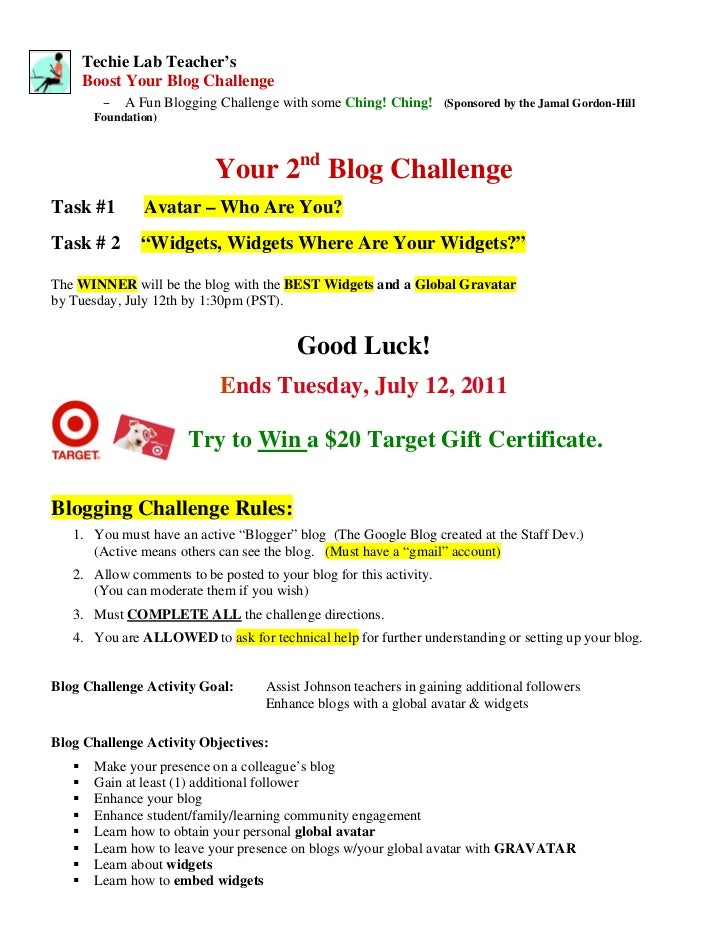"""""""Boost Your Blog"""" Challenge No. 2 Info Packet"""