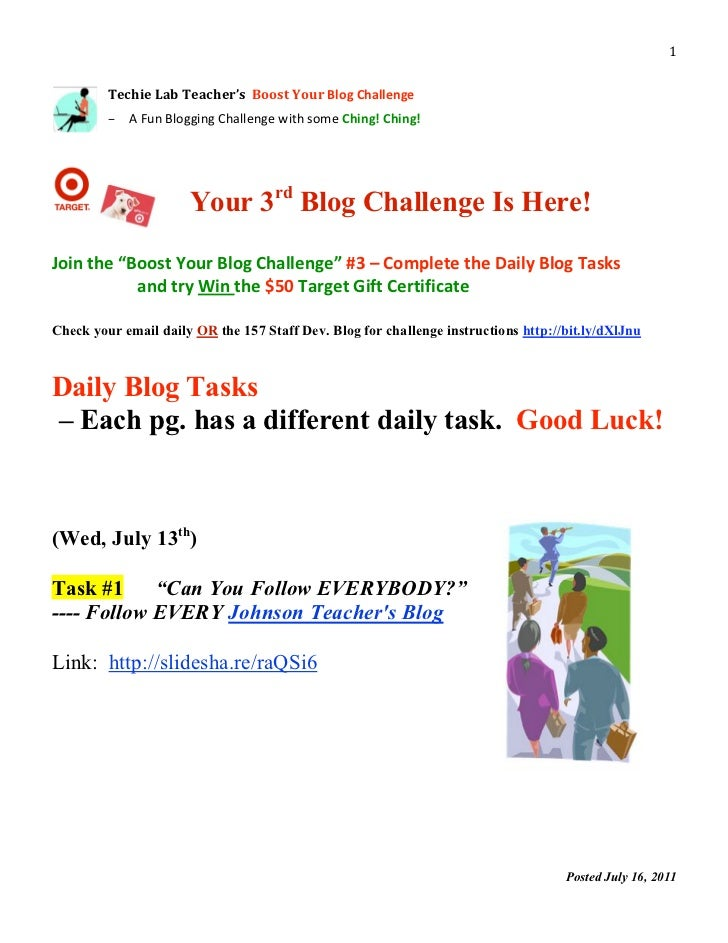 Boost Your Blog- Challenge No. 3 Packet