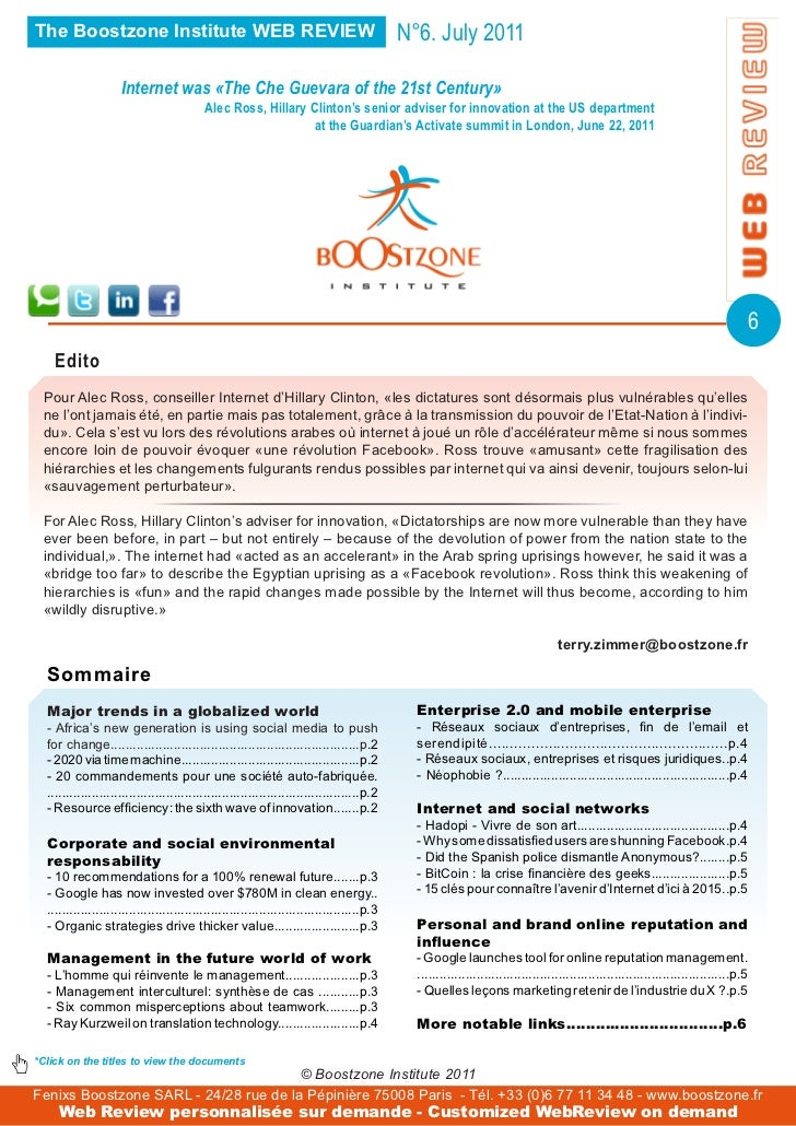 The Boostzone Institute WEB REVIEW                                                          N°6. July 2011                ...