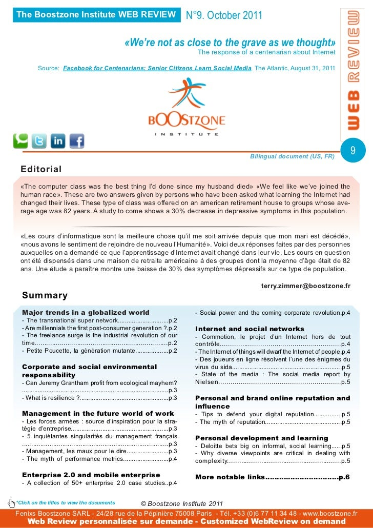 The Boostzone Institute WEB REVIEW                                                          N°9. October 2011             ...