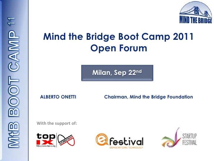 MtB Boot Camp 2011_Open Forum 22 settembre
