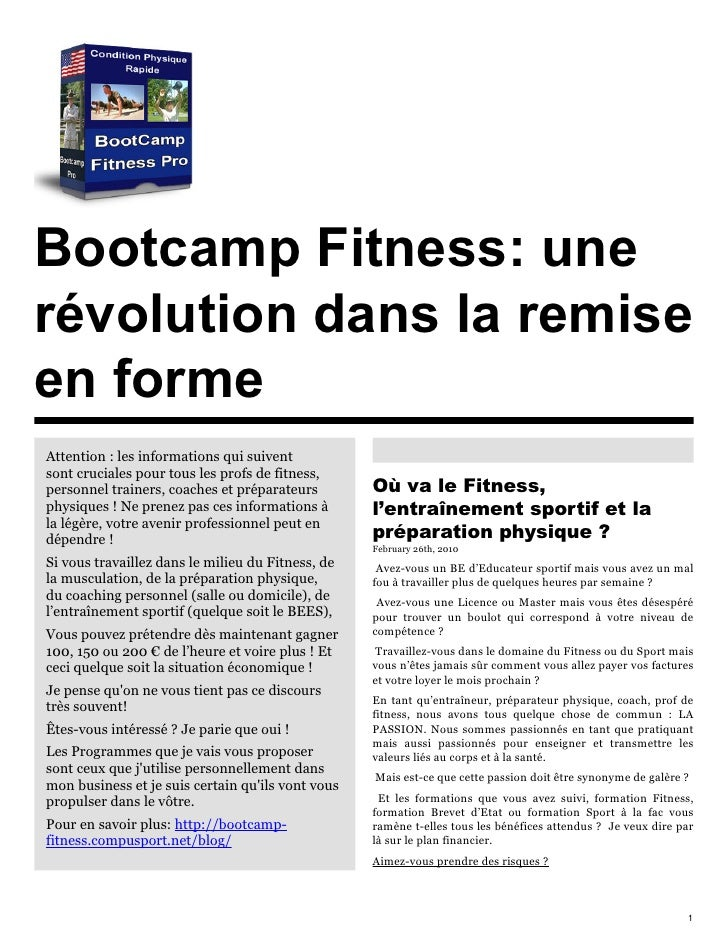 Bootcamp Fitness: une révolution dans la remise en forme Attention : les informations qui suivent sont cruciales pour tous...