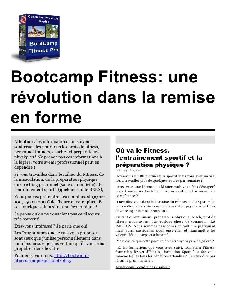 Bootcamp Fitness et preparation physique